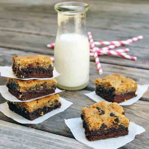 Chocolate-Chip Cookie Topped Brownies