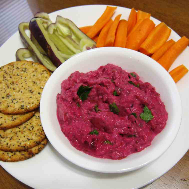 Roasted Eggplant Dip with Beets