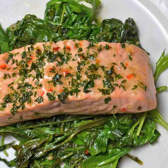 Roasted Salmon with Wilted Greens