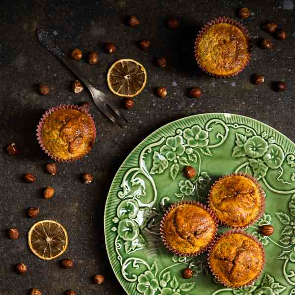Lemon hazelnuts poppy seeds muffins