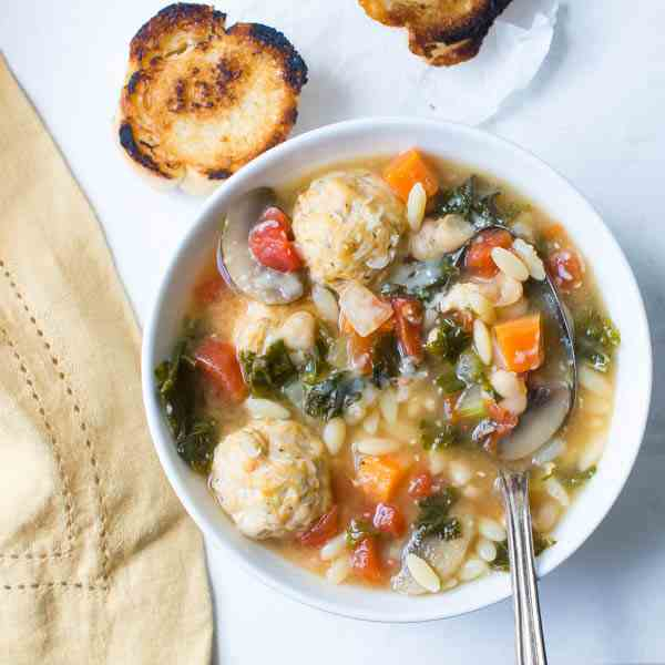 Kale White Bean and Meatball Soup