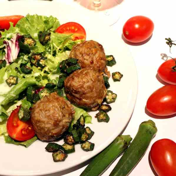 Rice-Meatballs with Okra on Salad