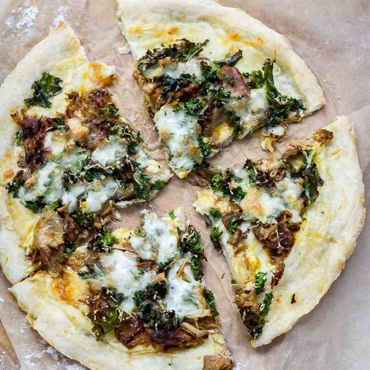Leftover Pulled Pork Pizza with Kale