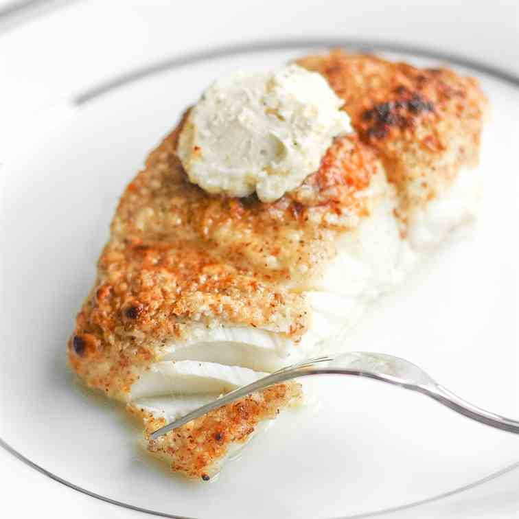 Almond-Crusted Halibut with Garlic Butter