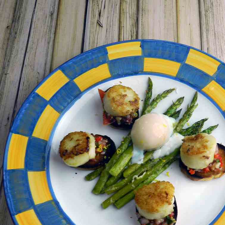 Milanese Asparagus with Scallop Crostini