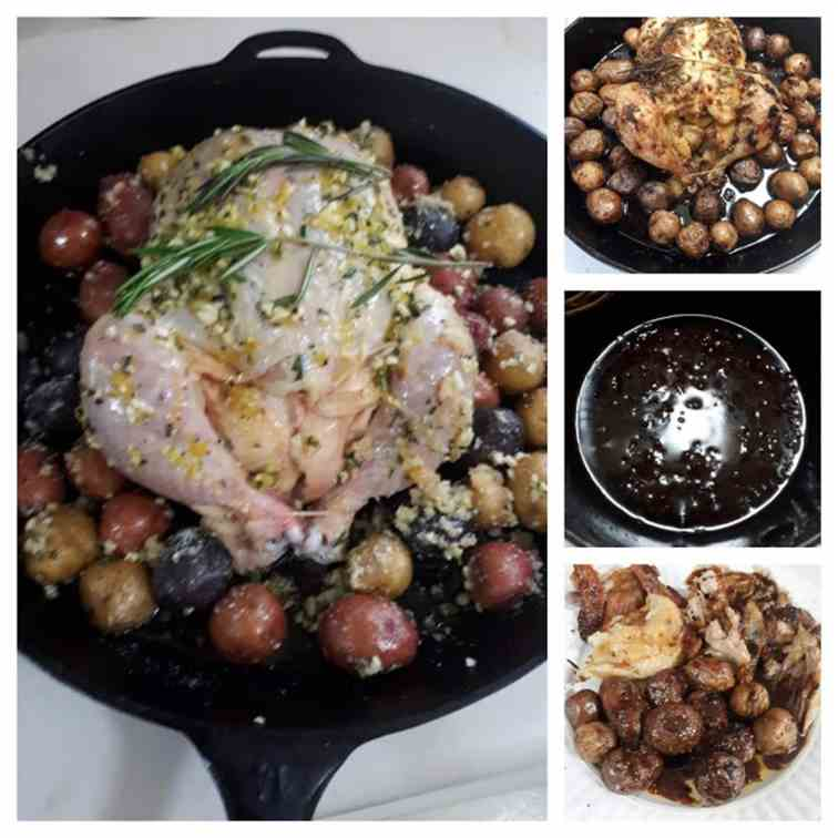 Cast iron Skillet Roasted Chicken Dinner