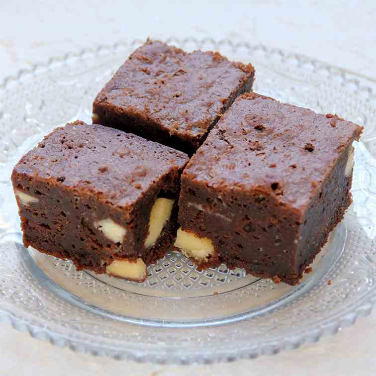 Coffee Brownies with White Chocolate Chips