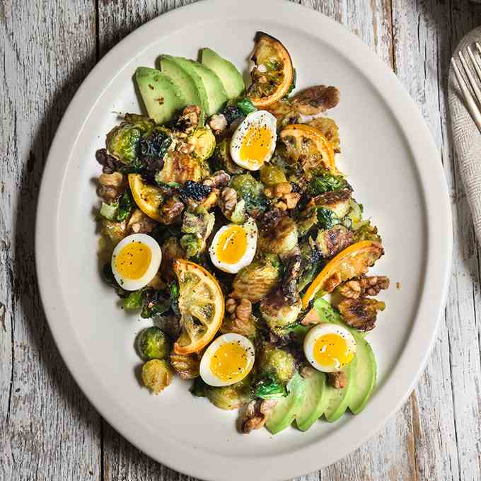 Roasted lemon - Brussels sprouts salad