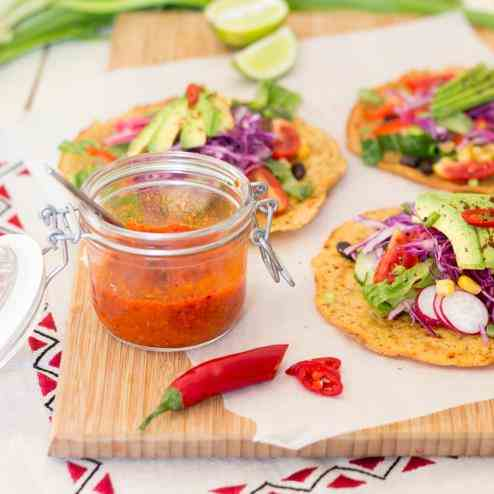 Gluten free tacos with fiery red pepper sa