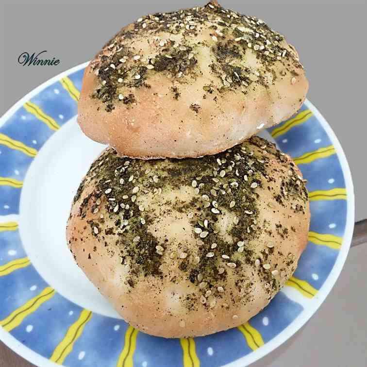 Pita-bread with zaatar and olive-oil