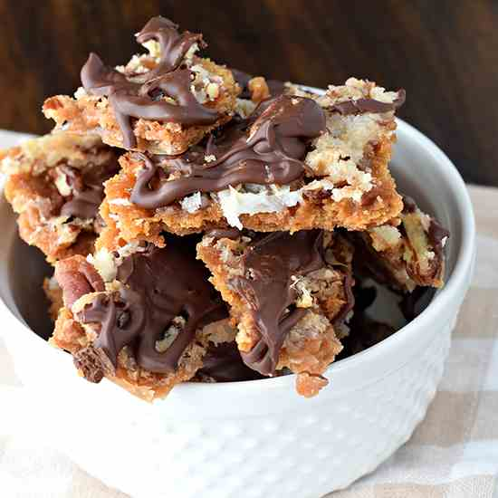 Chocolate Coconut Cracker Toffee