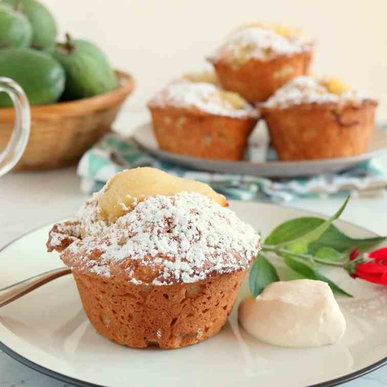 Spiced Feijoa - Pear Muffins
