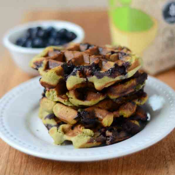 Moringa Blueberry Waffles