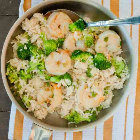 Creamy skillet shrimp and rice