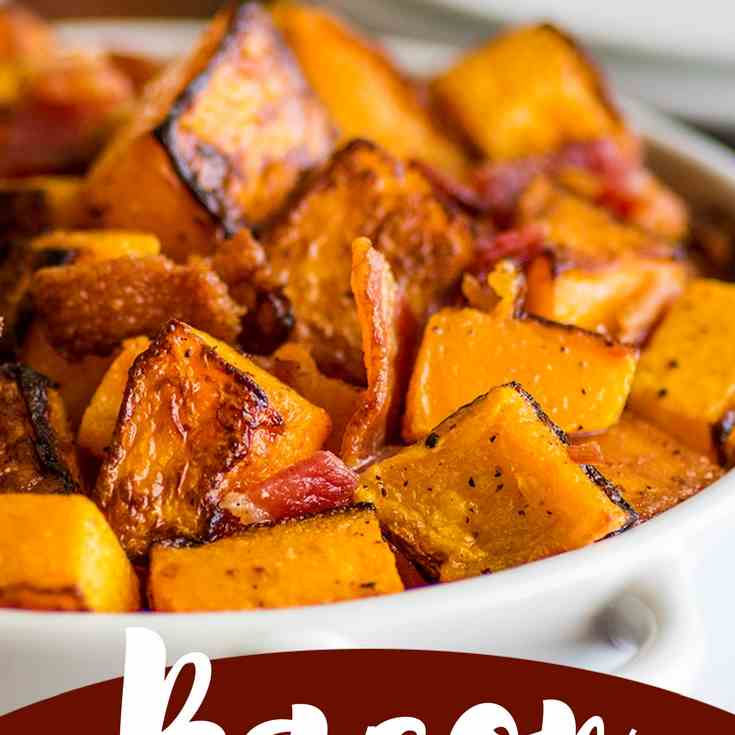 Roasted Bacon and Butternut Squash Side Di