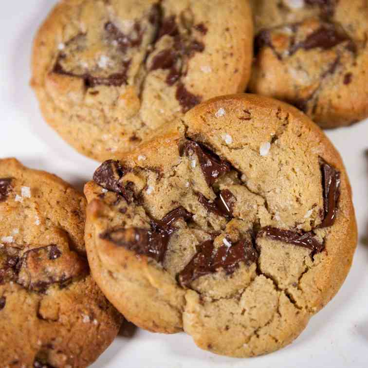 Salted Dark Chocolate Chip Cookies