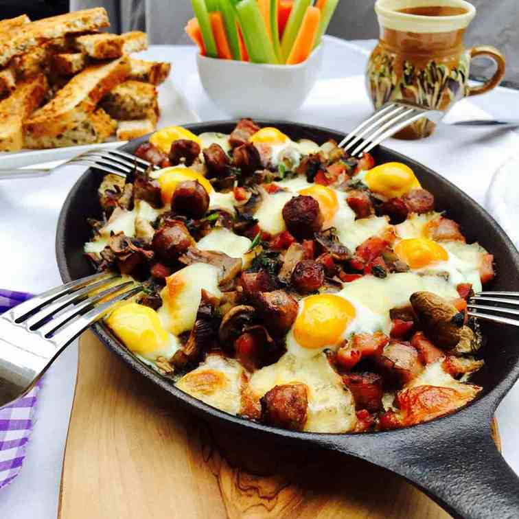 Quail eggs, mushrooms and bacon