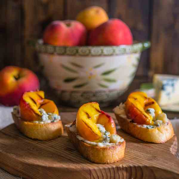 Peach and Gorgonzola Crostini