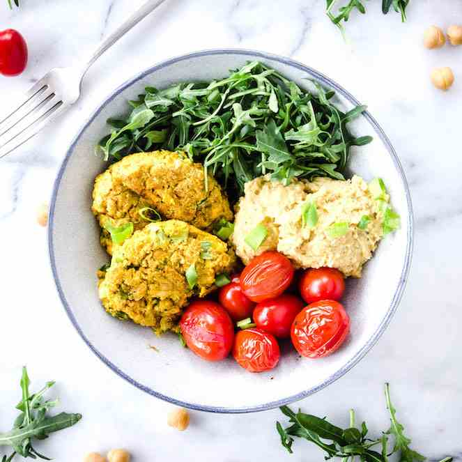 Simple Chickpea Fritter Bowl (vegan - gf)