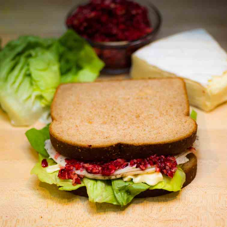 Turkey Brie Sandwich with Cranberry Relish