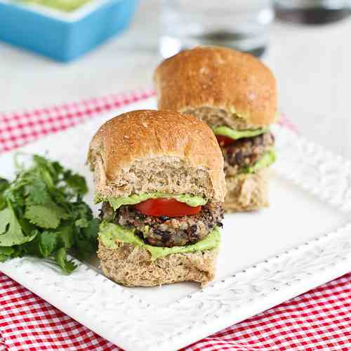 Black Bean Sliders w/ Creamy Avocado Sauce