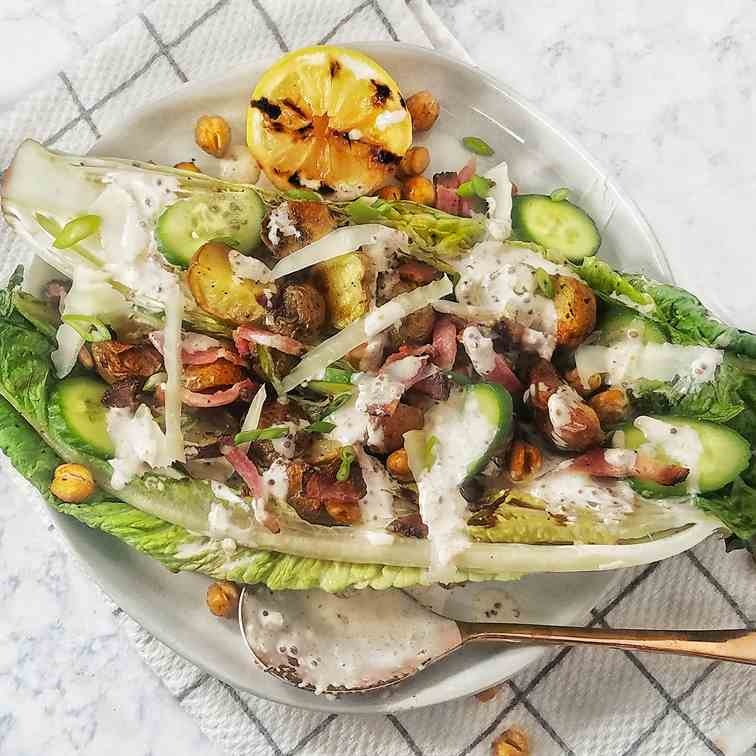 Grilled Romaine with Roasted Potatoes