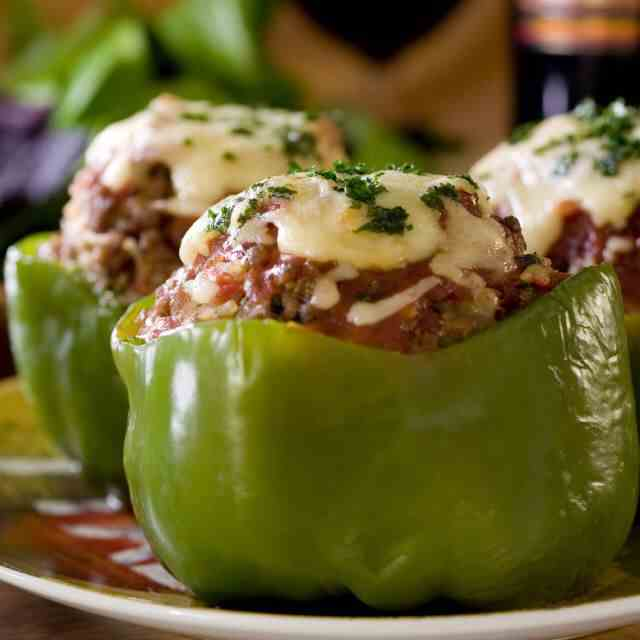 Big Mac Stuffed Peppers In The Slow Cooker