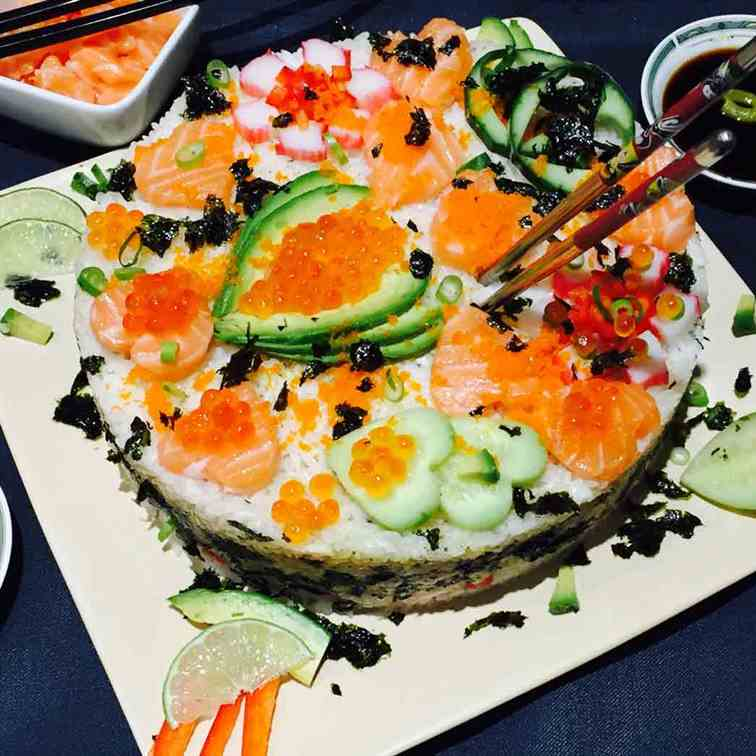 Homemade sushi cake