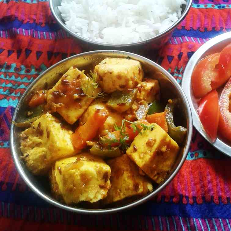Indian cheese curry with vegetables
