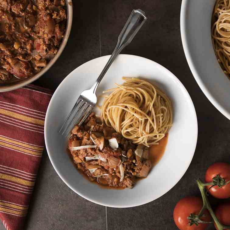 Mushroom, Turkey, and Walnut Bolognese
