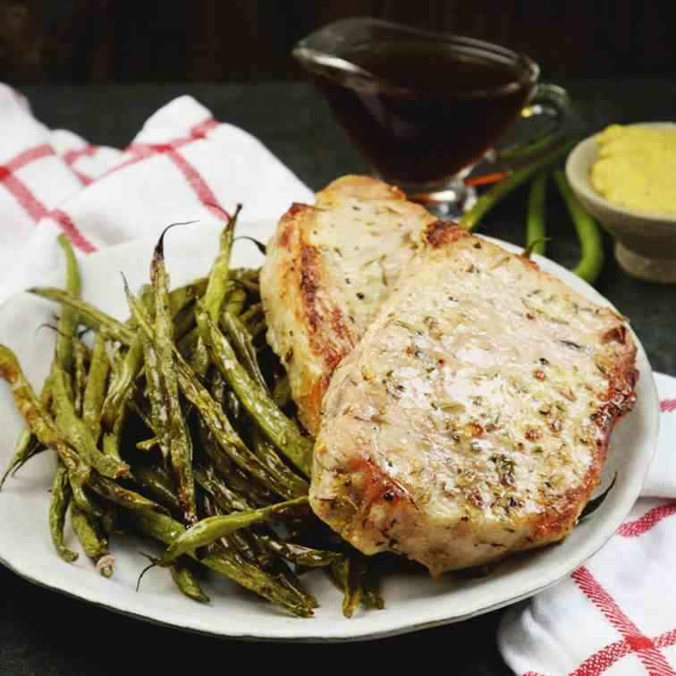 Sheet Pan Pork Chops with Green Beans