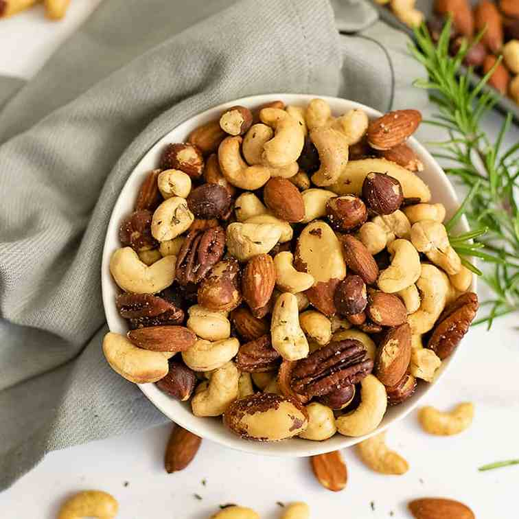 Easy Rosemary Savory Spiced Nuts