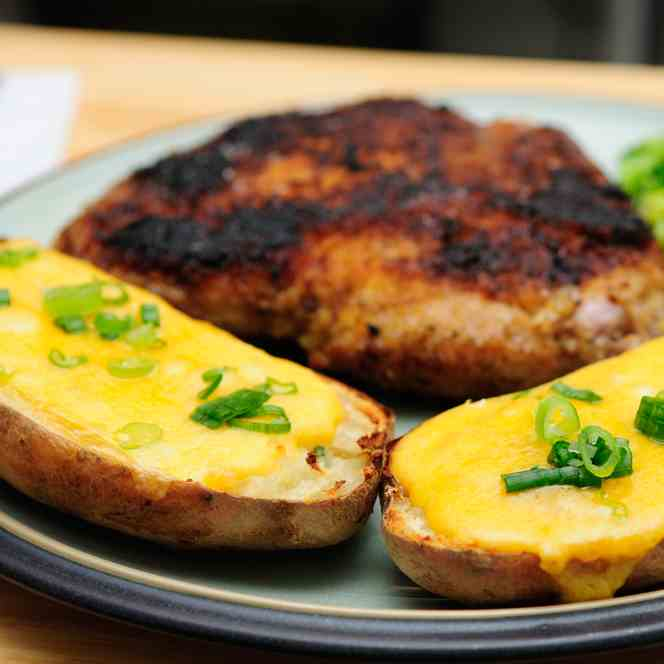 Date Night Pork Chops - Twice Baked Potato