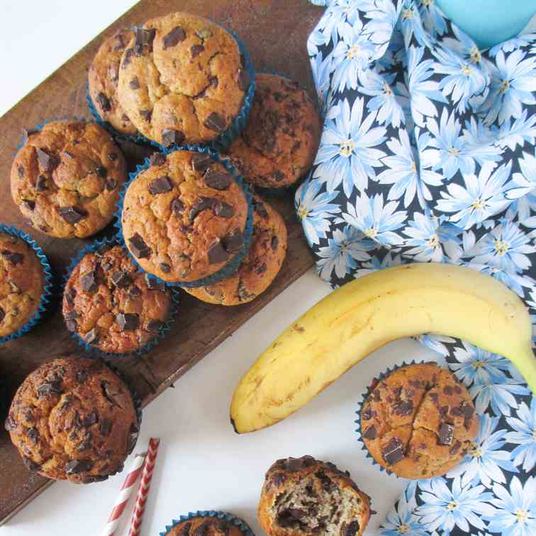 Banana peanut butter chocolate muffins
