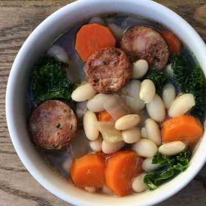 White Bean Soup With Kale - Smoked Sausage