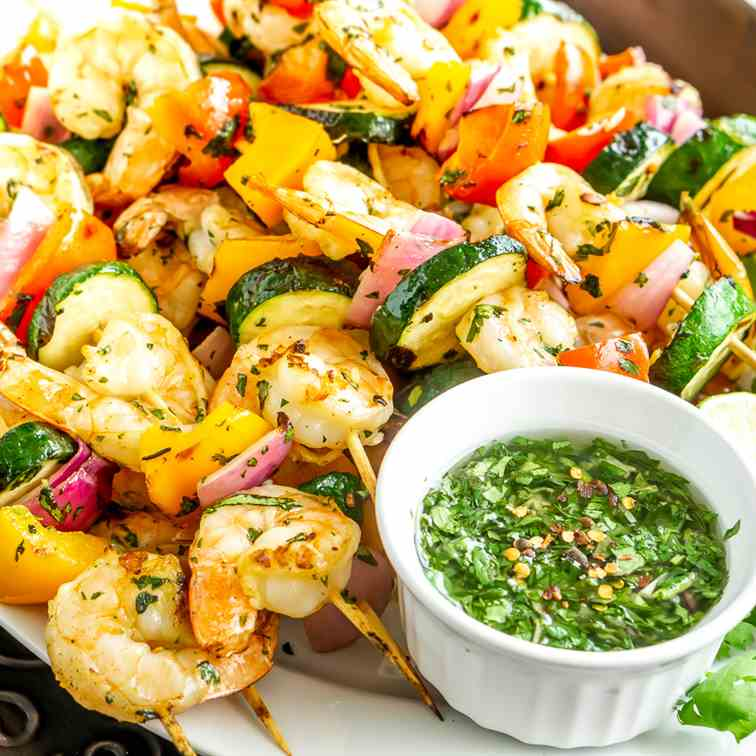 Grilled Shrimp - Veggie Skewers