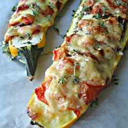 Beef and Asiago Stuffed Zucchini