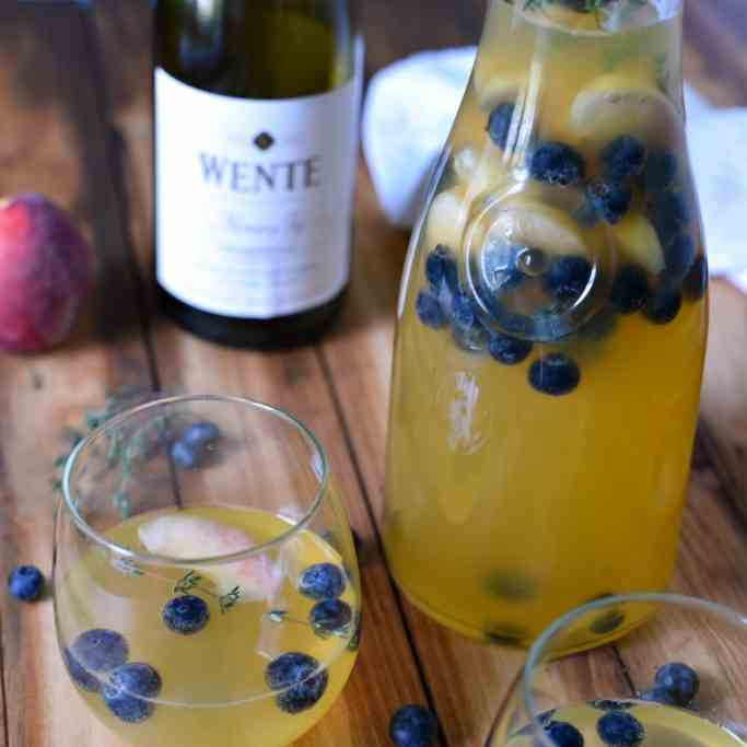 Peach Blueberry and Thyme Sangria