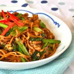 Fried Egg Noodles with Pork and Choi Sum