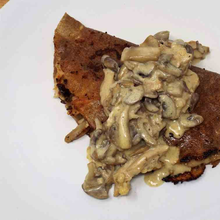 Buckwheat Crepes with Chicken and Mushroom