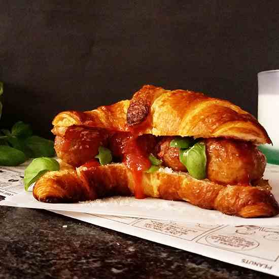 Simple Turkey Meatball Croissant Sandwich