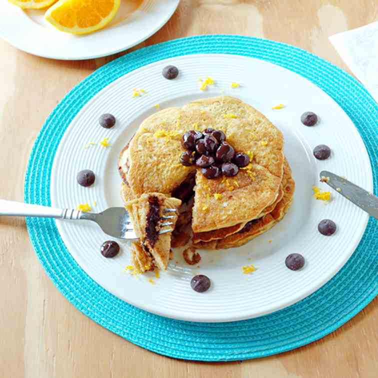 Orange Pancakes with Chocolate Chips