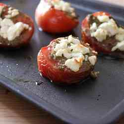Roasted Tomatoes with Pesto & Goat Cheese