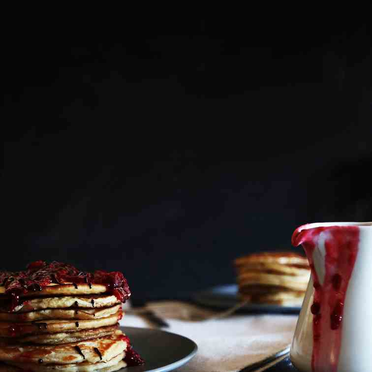 French Vanilla & Cacao Pancakes with Raspb