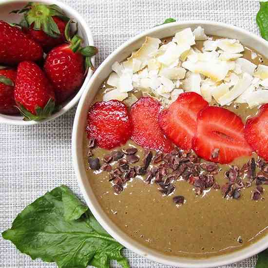 Chocolate Spinach Strawberry Smoothie Bowl