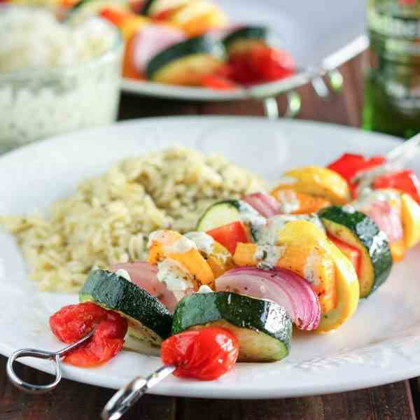 Marinated Vegetable Kabobs with Pesto Yogu