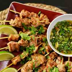 Thai Chicken Skewers with Sweet Chili Sauc