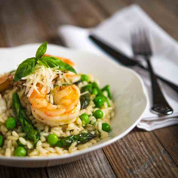 Spring Risotto with Lemon Garlic Shrimp