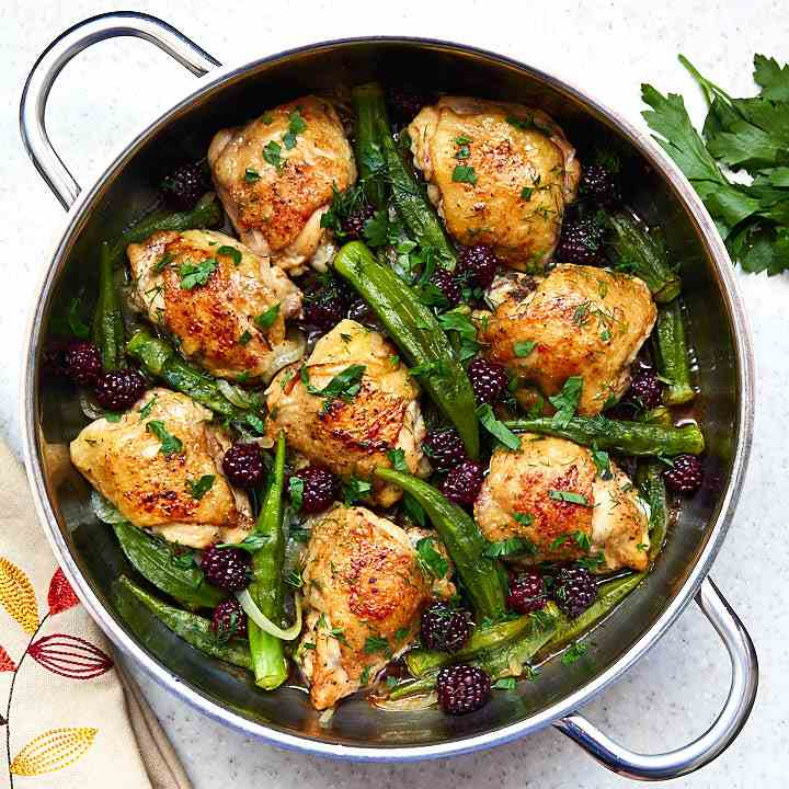 Chicken Thighs with Okra, Blackberries