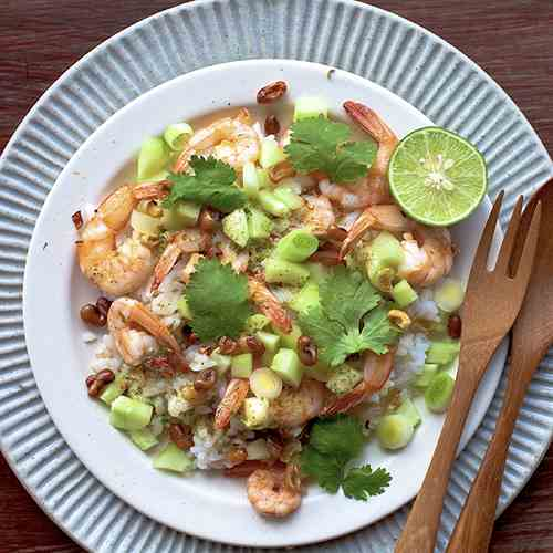 Prawn, Lime, Cilantro with Coconut Rice